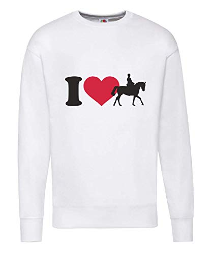 Druckerlebnis24 Pullover - I Love Reiten Pferd - Sweatshirt Unisex für Kinder - Junge und Mädchen
