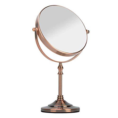Make-up spiegel Gratis Staande Tafel Vanity Spiegel op Standaard, Dubbele Zijkant 3X Vergrootglas Make-up Spiegel 360 Graden Gratis Rotatie voor Aanrechtblad Cosmetische Make-up (Kleur : Brons, Maat : 20cm)