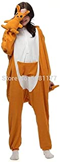 Czc-dp Czc-dp Cartoon Kostüme Unisex Adult Cartoon-Tier-Strampler Känguru Cospaly Kostüme Halloween Karneval-Maskerade-Partei-Plüsch-One Piece Anime Pyjamas Farbe: Känguru, Größe: L