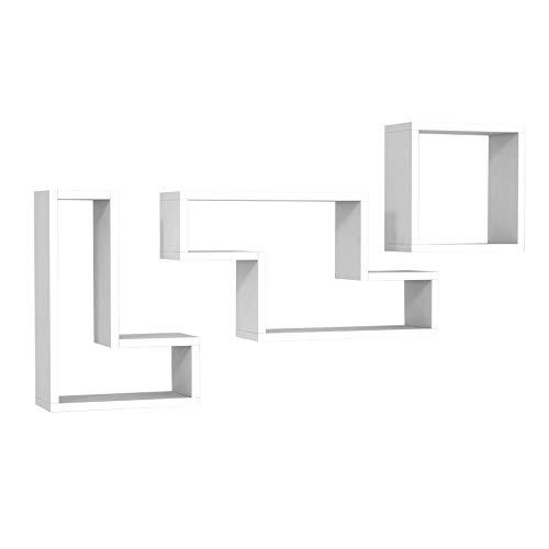 Alphamoebel 3368 Tetris Wandregal Hängeregal Wandboard Board Bücherregal für Küche Wohnzimmer, Holz, Weiß, 3er Set, Designerregal, viel Stauraum, Ablagefächer, 45 x 45 x 20 cm