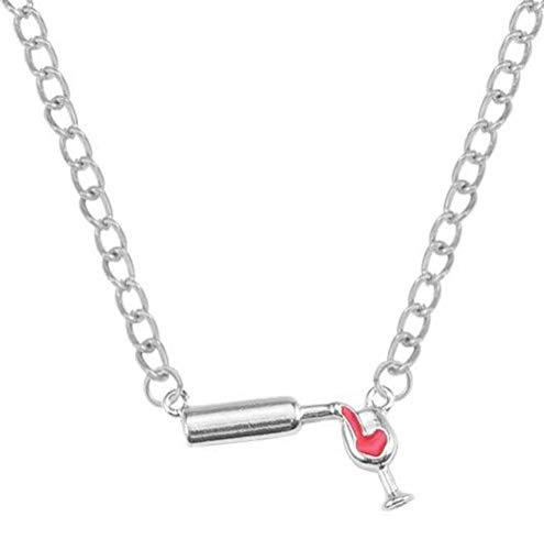 Copa de Botella de Vino Collar Colgante de Aleación para Mujer, WLG, plata