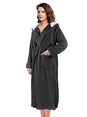 Women's Hooded Long Robe Fluffy Plush Fleece Bathrobe Super Soft