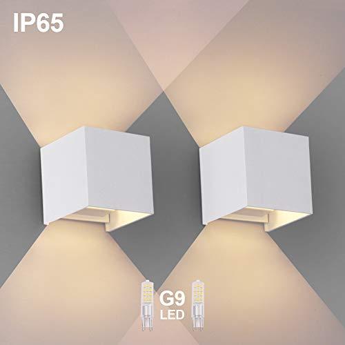 OOWOLF 2 Pezzi LED Lampada da Parete IP65 Impermeabile, Applique Moderna Lampadina G9 LED Sostituibile, Bianco Caldo 3000K per Esterno ed Interno, Portico, Bagno, Corridoio, Balcone (Bianco)