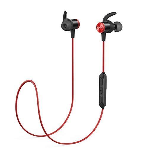 Soundcore Anker Spirit Auriculares Bluetooth inalambricos, Bluetooth 5.0, batería de 8 Horas, Impermeable IPX7, con micrófono (Rojo)