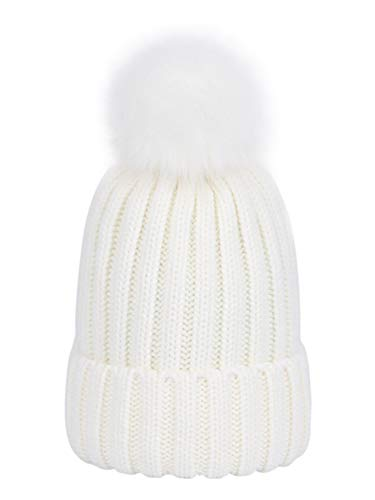 YOSICIL Sombrero Otoño Invierno Punto Gorros de algodón Gorras con Forro Cálido Gorro Lindo Gorros con Pompon para Niños Niñas Unisex Talla S-M