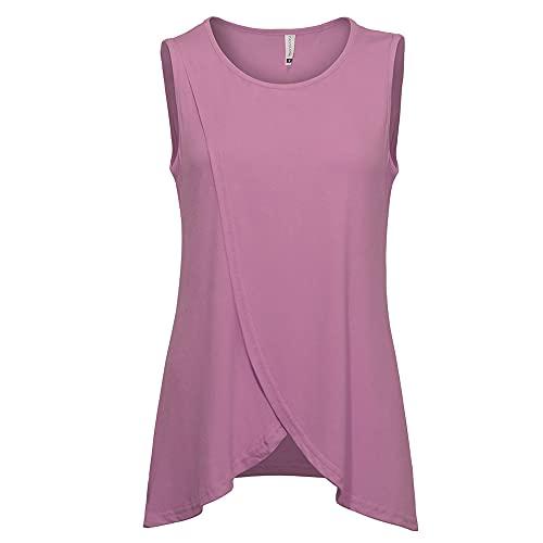 Camiseta Sin Mangas Mujer Elegante Moda Cuello Redondo Color Sólido Camisa Mujer Verano Cómodo Suave Suelto Largos Mujer Shirt Viajes Vacaciones Casual All-Match Mujer Tops A-Pink XXL