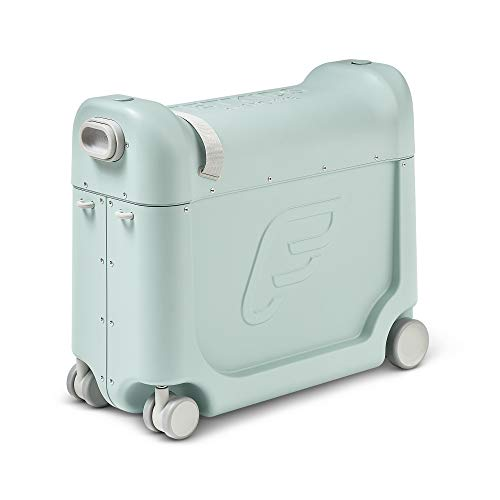 JetKids by Stokke BedBox, Green Aurora - Kid's Ride-On Suitcase & In-Flight Bed - Help Your Child Relax & Sleep on the Plane - Approved by Many Airlines - Best for Ages 3-7