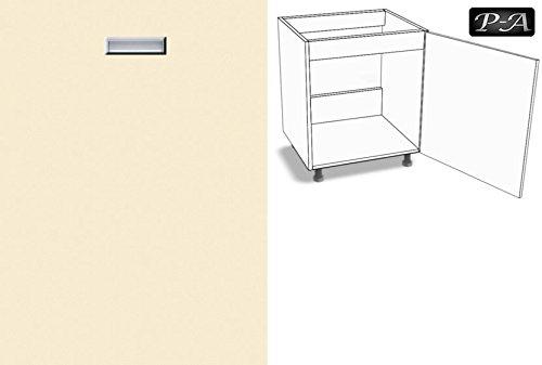 Premium-Ambiente ECE053 Unterschrank Spüle 60cm breit eingelassener Griff EURODEKOR® (Anschlag rechts, 53 Vanille)