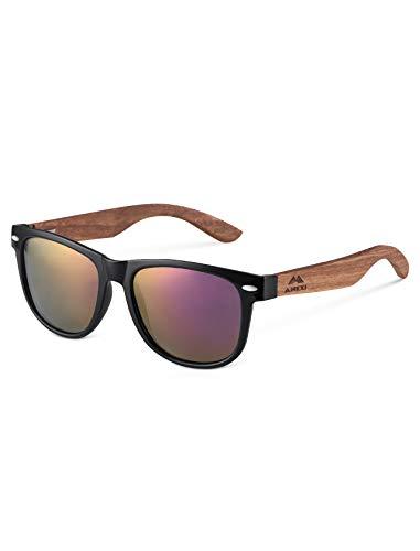 Amexi Herren Damen Polarisierte Sonnenbrille, Unisex Holz/Bambus Sonnenbrille, UV400 (Lila)