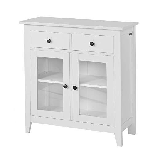 SoBuy FSB05-W Kommode Flurschrank Wohnzimmerschrank Sideboard Küchenschrank mit 2 Schubladen und 2 Glastüren B80XT32XH86cm weiß