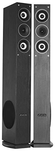 Fenton SHFT52B Paire Enceintes colonne design – Noires - Max 500 Watts , Enceinte Colonne Hifi 3 voies , SPL 88 dB , 20 Hz à 20 kHz , Son haute-fidélité , Enceinte Colonne Home Cinema
