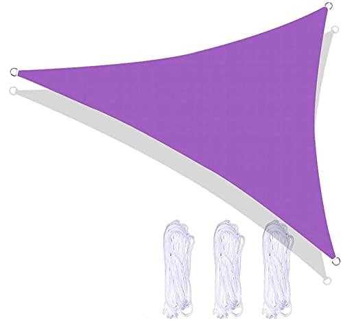 Triangel solskydds segel vattentät och 96,5% UV-blockering, olika storlekar och specifikationer för triangeln taket med gratis rep utomhus trädgårdsterrass party-Lila || 4x4x4m