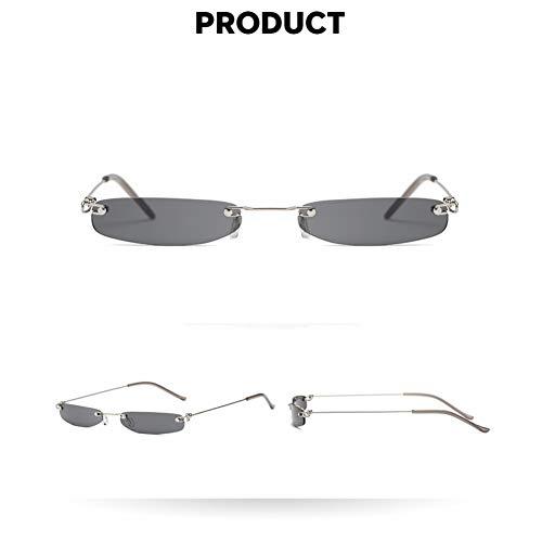 WZYMNTYJ Vintage Sonnenbrille Frauen Kleine Schmale Sonnenbrille Retro Sunglass Markendesigner Weibliche Brillen Randlose Womens Shades