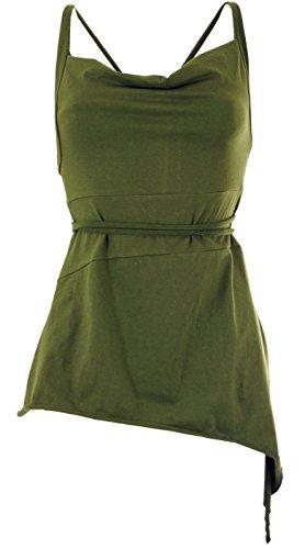 Guru-Shop Pixi Top, Yogatop, Damen, Olive, Baumwolle, Size:M/L (38), Tops & T-Shirts Alternative Bekleidung