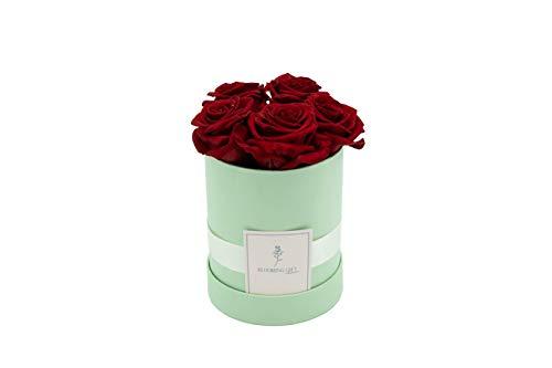 Blooming Gift - Infinity Flowerbox - Rosen-Box - Blumenbox - Ewige Blume - Geschenk - 3 Jahre haltbar - Hellgrün/Rot - Große Small: H14 x Ø12cm
