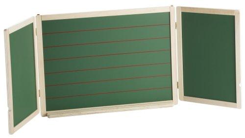 roba Tafel, große Hängetafel faltbar mit Maltafel magnetisch weiß & Kreidetafel / Schreibtafel liniert, Tafellack, Kindertafel Holz, natur