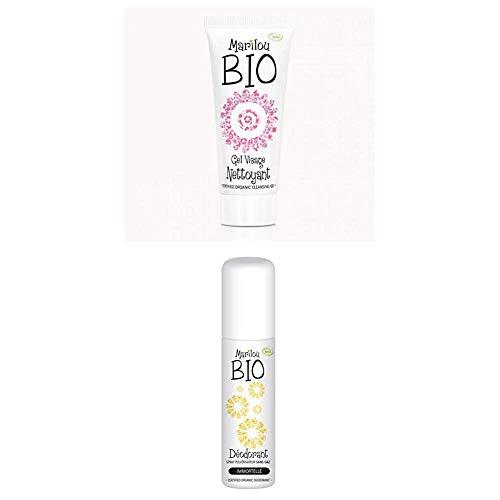 Duo de produit de beauté MARILOU BIO - Gamme Classic - Gel visage nettoyant - Déodorant Immortelle