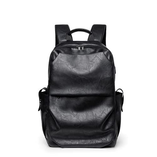 Mochila de material de PU suave, bolsa de computadora de mochila de largecapacidad, mochila recargable de viaje de ocio, mochila