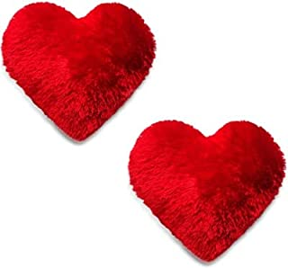 FLYmart Love Heart Shape Soft Plush Cushion Pillow in Red Color Size Pack of 02. Gift for Birthday Return Gifts, Lover, Si...