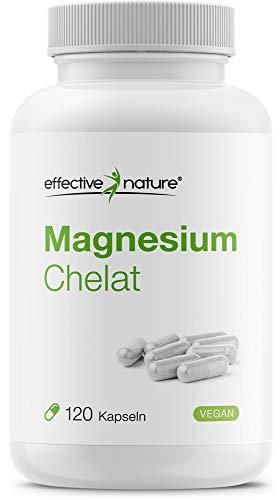Effective nature | Magnesium Chelat | Pro Tagesdosis 300 mg Magnesium | Gute Verträglichkeit bei hoher Bioverfügbarkeit | Produziert und laborgeprüft in Deutschland | Vegan u. glutenfrei | 120 Kapseln