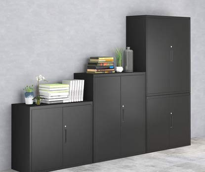 MECOLOR Halve hoogte Metalen Office Bestandskast, Swing Deur Metalen Kantoorkast met Deuren en Verstelbare Planken in Witte Kleur