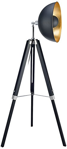 Lampadaire Fascino Métal Rétro Projecteur Lampe De Sol Noir Dorée VN-L00019-EU