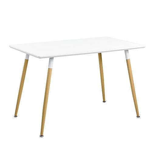 [en.casa] Esszimmertisch für 4 Personen 120 x 70 x 75cm Weiß Esstisch Tisch Esszimmer Essgruppe Wohnzimmer