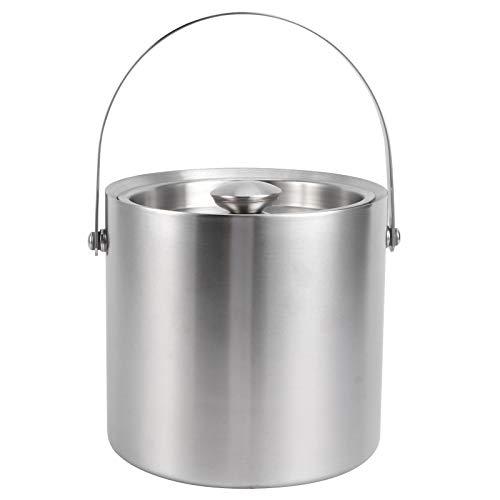 Cubo de hielo, cubo de hielo de 3L con tapa Barril de hielo de vino de doble pared portátil para uso en fiestas de hoteles y bares