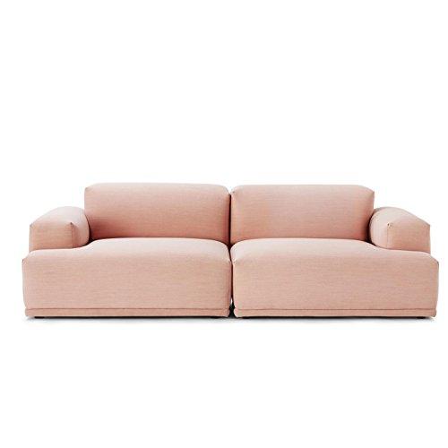 Muuto Connect Lounge 2-Sitzer Sofa, rosa Stoff Steelcut Trio 515 234x92cm