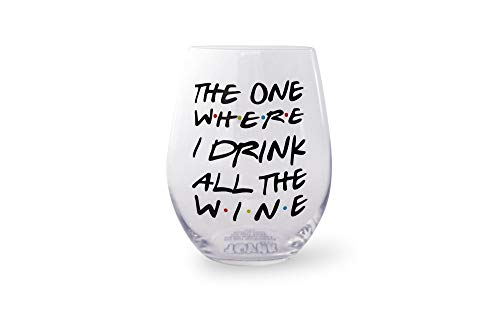 Toynk Toys The One Where I Drink All The Wine Friends Inspired Stemless Wine Glass | Oversized Glass Cup | Funny Drinkware for Tea, Coffee, Hot and Cold Beverages | Holds 20 Ounces