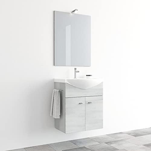 MarinelliGroup Mobile Bagno salvaspazio sospeso 55 cm con lavabo in Ceramica Specchio Luce LED Zaffiro (Rovere Bianco)