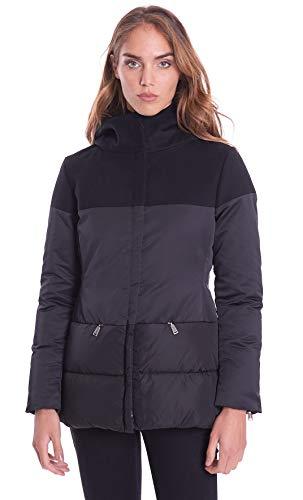 ADD Daunenjacke für Damen, lang, mit Kapuze aus technischem Stoff und Wolle Gr. 42, Schwarz