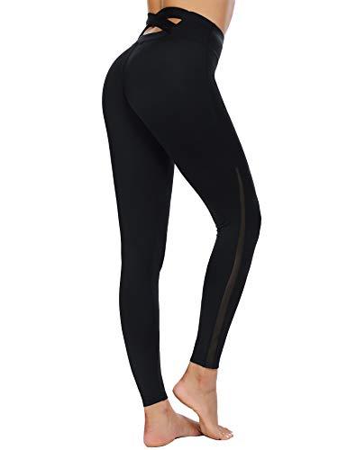 COOrun Women's Mesh Yoga Pants High Waist Tummy Control 4 Way Stretch Leggings Criss Cross Workout Capri(Black,XXL)