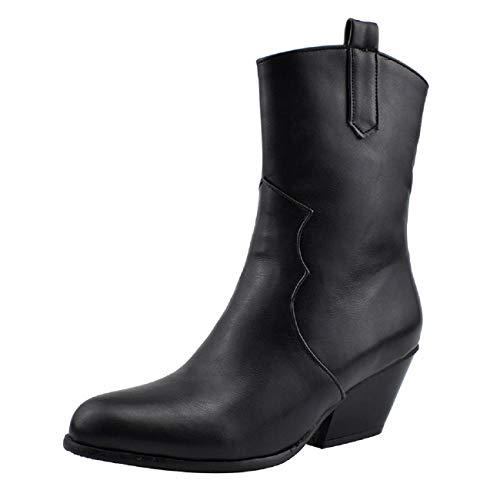 Amazing Deal Boots for Women, FAPIZI Women Snakeskin Round Toe Chunky Heels Mid Heel Side Zipper Ank...