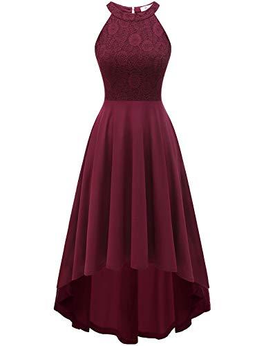 YOYAKER Damen 50er Vintage Rockabilly Kleid Neckholder Cocktailkleid Spitzen Vokuhila Festliche Party Abendkleider für Hochzeit Burgundy 2XL
