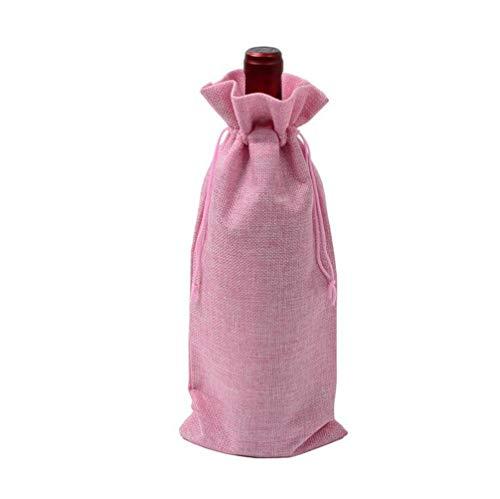 HMILYDYK Bolsas para botellas de vino, bolsas de regalo para bodas, fiestas, bolsas de regalo con cordón para botellas de 750 ml, 10 unidades de color rosa