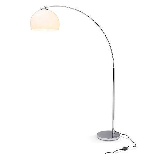 Lightbox Bogenlampe Vessa - bis 166 cm höhenverstellbare Bogenstandleuchte, Ø 30 cm, Fußschalter, E27 Fassung für max. 60 Watt - Metall/Kunststoff