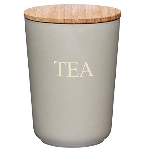 Kitchen Craft Natural Elements Boîte à café hermétique en Fibre de Bambou - 10,5 x 14,5 cm, Grise, Bambou, Marron, 10.5 x 10.5 x 14.3 cm