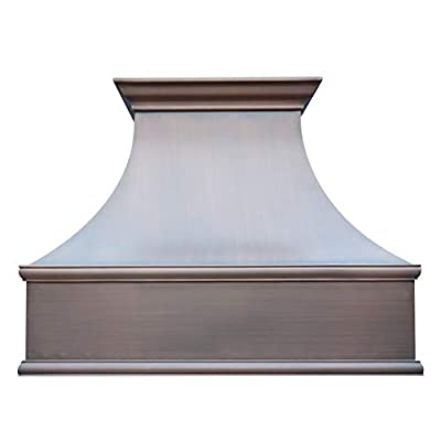 """SINDA Copper Range Hood with Profession Stainless Steel Vent with Liner & Internal Motor, 48""""Wx36""""H, Smooth-Antique Copper, Island Mount, H7SI4836"""