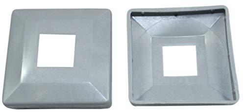 SN-TEC Abdeck Rosetten Eckig für Geländer   Rohre   Heizungen usw, Schwarz/Weiß/Grau (10 Stück) (Aussen 40x40mm / Innen 14x14mm, Grau)