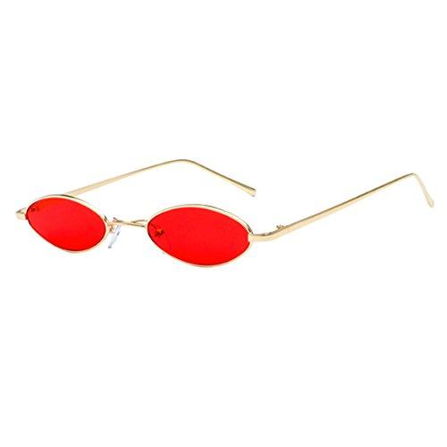Inlefen Gafas de sol ovales pequeñas unisex Vintage Gafas de sol esbeltas marco de metal colores