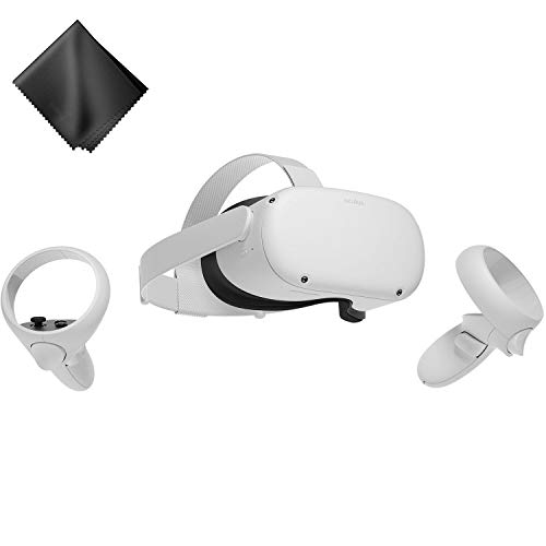 Oculus Quest 2 — Advanced All-in-One Virtual Reality Gaming Headset — White — 64GB Video — BROAGE Microfiber Glasses Cleaning Cloth 1 Pack