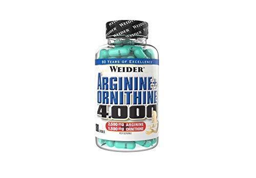 Weider Arginin + Ornithin 4000, hochdosierte Pre-Workout Aminosäuren, 180 Kapseln