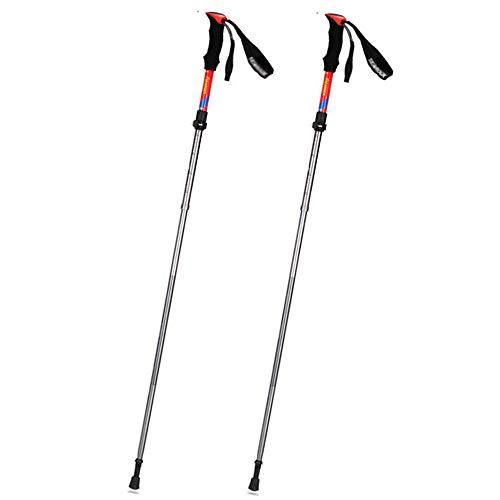 LITTER Wanderstock Faltbare Trekkingstöcke, Leichte Und Einstellbare Walking Stöcke- Für Frauen Männer Senioren Wanderungen,Red