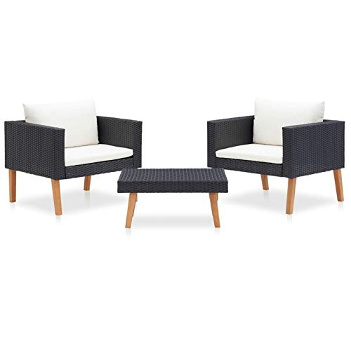 Tidyard Conjuntos Sofa Exterior Moderno Set de Muebles de jardín 3 pzas y Cojines ratán sintético Negro