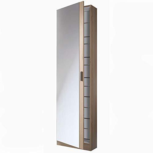 EGLEMTEK Mobile Tarnow Armadio Portascarpe con Specchio Scarpiera Salvaspazio Colonna Salotto Ingresso Bagno 180 x 50 x 20 cm Colore Rovere