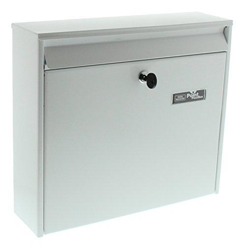 BURG-WÄCHTER Anlagenbriefkasten, A4 Einwurf-Format, EU Norm EN 13724, Verzinkter Stahl, Mail 5877 W, Weiß