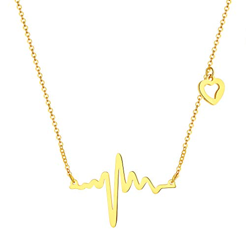 Richsteel Collar EKG con Latidos de Corazon Amor Colgante de Oro Acero para Mujeres Chicas