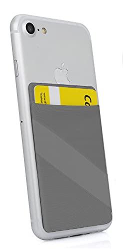 MyGadget Porta Tarjetas de Crédito Adhesiva con 1 Bolsillo + Elástico para Móvil - Tarjetero Adhesivo Universal - Funda Cartera con Bloqueo RFID - Gris