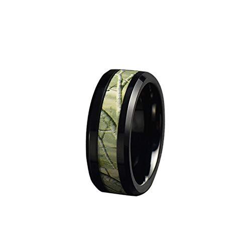 Anillos de promesa para hombre, 8 mm de acero inoxidable/tungsteno camuflaje bandas anillo para hombres, niño, padre, marido, negro y verde,